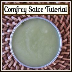 How to Make Comfrey Salve:  Comfrey is an herb that heals skin, muscle and even bone. We use it to heal cuts, scrapes, bruises, sprains, sore muscles and we've even seen it work wonders on a broken toe.  It has trans-dermal healing properties, meaning that it soaks through the skin, into the tissue and bone. Healing Herbs, Natural Healing, Medicinal Herbs, Healing Oils, Natural Health Remedies, Herbal Remedies, Home Remedies, Holistic Remedies, Herbs For Health