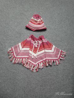 Baby Poncho + Mütze 100% Bio Baumwolle, gestrickt, vegan, Mädchen von LiMariann auf Etsy