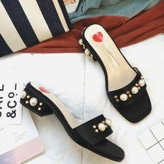 2017 Spring Silk Womens Slippers Shoes Luxurious Beading Low Heels Women Sandals Mules Slip On Slides Stilettos Summer