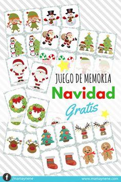 Memory game-  Juego de Memoria Navidad -mamaynene Christmas Games, Christmas Activities, Christmas Printables, Christmas Decorations, Spanish Lessons For Kids, Spanish Activities, Activities For Kids, Xmas Crafts, Diy And Crafts