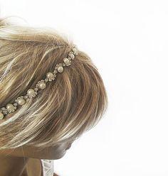 Bridal Rhinestone and Pearl headband Wedding by ADbrdal on Etsy