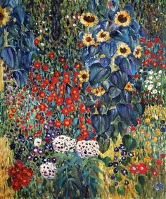 Klimt - Farm Garden With Sunflowers. One of overstockArt's most popular paintings for 2014. Hand painted reproductions are available in a variety of sizes at overstockArt.com. #art