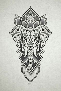 Tattoo designs that you want to put everywhere on you - Tattoos Models Elephant Head Drawing, Elephant Head Tattoo, Elephant Tattoo Design, Geometric Elephant Tattoo, Elephant Design, Mandala Tattoo Design, Tattoo Designs, Buddha Tattoo Design, Mandala Drawing