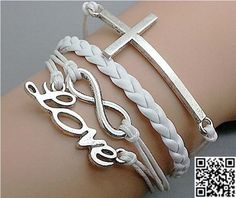 Love Cross  Infinity Wish Charm BraceletSilverWhite by Carlydiy, $4.99