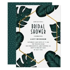 Leaves Frame Tropical Bridal Shower Invitation - invitations custom unique diy personalize occasions