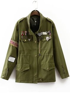 Cheap jacket short, Buy Quality badge maker directly from China jacket  supplier Suppliers: 2016 Women Casual embroidery patch badge military  fitted jacket