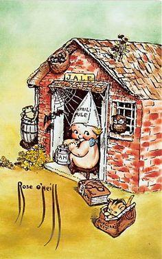 Kewpie Doll Eating Jam Adapted By Florence Baker Postcard of Rose O'Neill Part of her Kewpieville series. Vintage Cards, Vintage Postcards, Vintage Signs, Vintage Christmas Images, Kewpie Doll, Cupie Dolls, Types Of Art, Paper Dolls, Color Splash