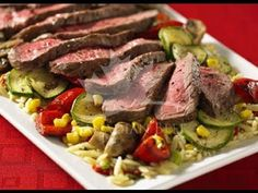 In this video, you'll learn how to make a perfect, Canada Beef oven broiled steak on a bed of tasty and nutritious red peppers, mushroo. Kinds Of Steak, Beef Steak, Oven Roast, Orzo, Beef Recipes, Stuffed Mushrooms, Veggies, Tasty, Dinner