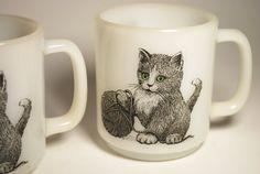 Vintage Glasbake Kitten Coffee Mugs set of 2 made in USA Kittens with yarn. $16.00, via Etsy.