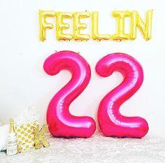 Pink LARGE 22 Balloon 22nd Birthday Feelin 22 22 by girlygifts07