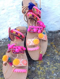 Boho colourful pom pom Ibiza hand made leather by AUROBELLE