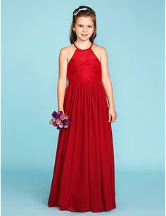 b68c2f4959 A-Line   Princess Jewel Neck Floor Length Chiffon   Lace Junior Bridesmaid  Dress with Sash   Ribbon   Pleats by LAN TING BRIDE®   Wedding Party