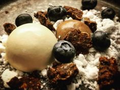 Dulce de leche, blueberries, chocolate panacotta, meringue and chocolate crisp