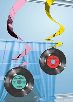 images of 1970s party centerpieces | ... 50's Rock n Roll Party Supplies »50's Record Swirl Decorations Pk5