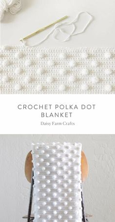 This is a free pattern for a crochet polka dot blanket. The idea all started for this crochet polka dot blanket when I learned how to do the bobble stitch. If you don& know how to work one, I have a clip you can watch below. (A bobble stitch is Crochet Borders For Blankets, Crochet Blanket Patterns, Crochet Blankets, Tunisian Crochet, Crochet Granny, Crochet Stitches, Motifs Granny Square, Granny Squares, Baby Girl Crochet Blanket
