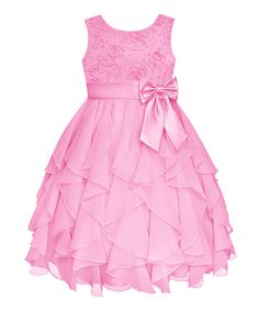 Ice Pink Rosette Ruffle Dress - Infant, Toddler & Girls | zulily