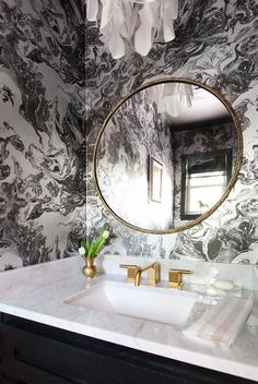 Black and white, brass fixtures, cb2 round mirror, - erin williamson | design crisis