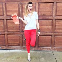 Red pants, white top