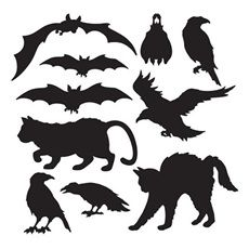 "Halloween Animal Silhouette Cut-Outs - 12"" Tall"