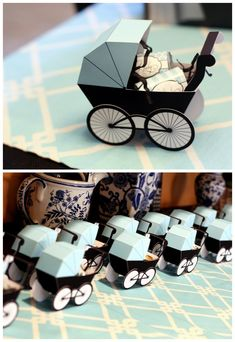 """""""Breakfast With Tiffany"""" Diaper Shower: paper baby carriages (by Piggy Bank Parties) filled with wrapped mini chocolate bars  {Anders Ruff printables, styling by Jen Carver of Banner Events}"""