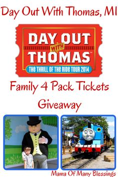 A Day Out With Thomas is coming to Michigan. We are giving away a Family 4 Pack of tickets, stop over and get entered to win.