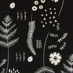 Cotton and Steel Black and White Leaf Leaves Flowers Floral Fabric BTY 1 Yd by PrivateSourceQuiltin on Etsy