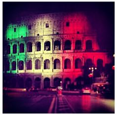 The #Colosseum illuminated by italian colors - #Roma #Rome #Italy