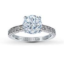 Jared Scott Kay 14K White Gold 3/8 Carat t.w. Diamond Ring Setting.  Breathtaking diamonds fill the bands and sides of this romantic engagement ring setting for her. Three eighth carat total weight. Styled in 14K white gold with milgrain edging.