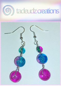 Pink & Blue Crackle beaded silver plated by TadeudzCreations, £3.50