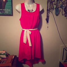 Beautiful pink high-low dress with cream belt Tear drop back. Two layers. Double Zero Dresses High Low