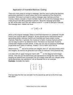 application-of-invertible-matrices-coding-19056452 by Tarun Gehlot via Slideshare
