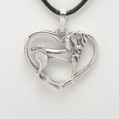 """Sterling Silver Weimaraner Pendant w/ 18"""" Sterling Ch by Donna Pizarro fr  Animal Whimsey Collection of Dog Jewelry and Weimaraner Jewelry by DonnaPizarroDesigns on Etsy"""
