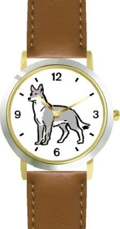 Wolf (Cartoon) Dog - WATCHBUDDY® DELUXE TWO-TONE THEME WATCH - Arabic Numbers - Brown Leather Strap-Size-Large ( Men's Size or Jumbo Women's Size )<div><div>WatchBuddy Deluxe Watches are the World's Most Lovable Theme Watches, they combine beauty, style and grace with functionality. The watch has a precision quartz crystal movement with three (golden) hands - hour, minute and second. The watch case is high gloss two-tone metal. The case back is stainless steel and laser engraved. The strap…