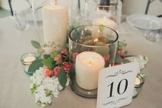 Centerpiece design proposed for the round tables - but with your flowers tucked in between.