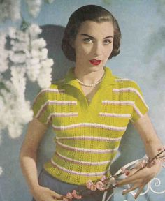 Ladies 1950 Sweater Vintage Knitting Pattern by PamoolahVintage