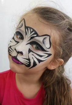 Tiger cat face with using two colors white and black that have great effect on little girl face. Description from trendymods.com. I searched for this on bing.com/images