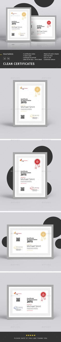 Clean Certificates  — PSD Template #consideration #certificate • Download ➝ https://graphicriver.net/item/clean-certificates/13230253?ref=pxcr