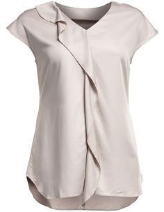 V-neck shirt with flounce in Beige designed by Manon Baptiste to find in Category Shirts & Blouses at navabi.de