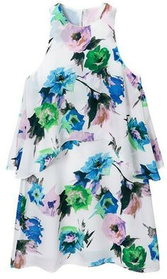 Romwe Double-layered Floral Print Dress on shopstyle.com