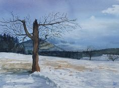 Snow, Watercolors, Winter, Painting, Outdoor, Art, Winter Time, Outdoors, Art Background