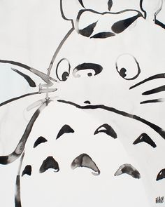 Phillip Casillas : Totoro. Brush and ink. I would love to have a Totoro tattoo that looked just like this!