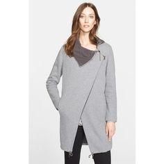 Fabiana Filippi Asymmetrical Zip Cotton Fleece Jacket ($679) ❤ liked on Polyvore