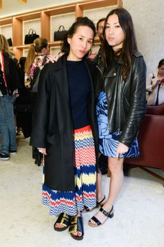 A first look at the Byredo's first American store opening: Olivia Kim in Cèline and Jen Brill.