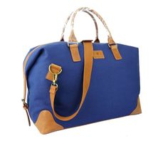 Grantham Blue Canvas and Leather Travel Bag by by BURGHLEY on Etsy