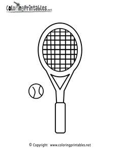 printable tennis  racket   Tennis Racket Coloring Page Printable.