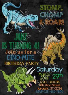 Dinosaurs birthday party invitation, Dinosaurs invitations