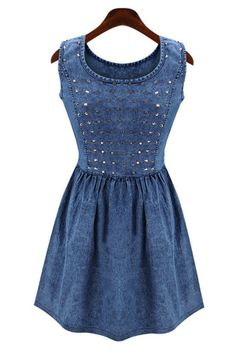 Studded Sleeveless Denim Dress