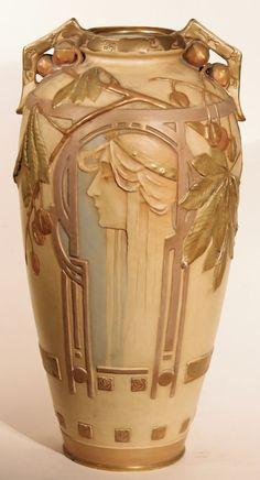 Art Nouveau - Tall Vase, ceramic amphora, ca.1900