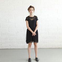 Fab.com | Sheer Dress Black