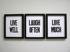Live Well, Laugh Often, Love Much, Simple Black and White Letterpress Prints, Set of 3 on Etsy, $39.00